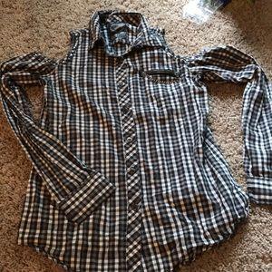 Button down open shoulder shirt